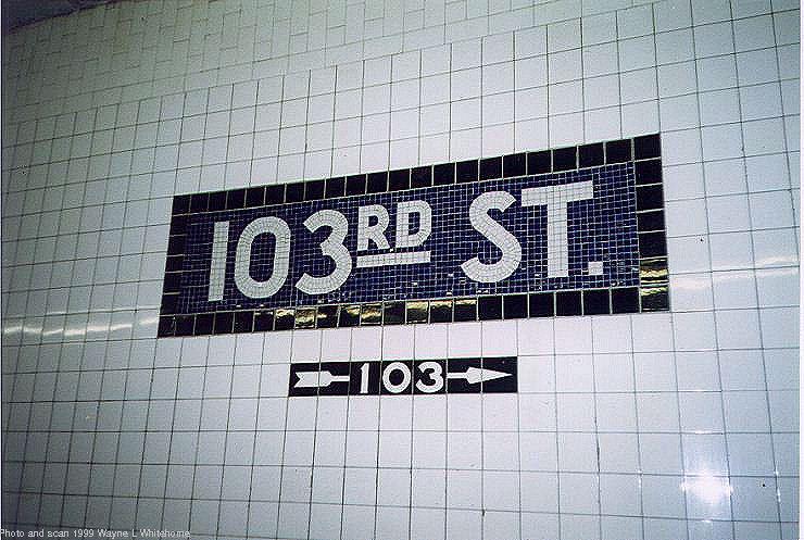 (86k, 740x497)<br><b>Country:</b> United States<br><b>City:</b> New York<br><b>System:</b> New York City Transit<br><b>Line:</b> IND 8th Avenue Line<br><b>Location:</b> 103rd Street <br><b>Photo by:</b> Wayne Whitehorne<br><b>Date:</b> 10/3/1999<br><b>Viewed (this week/total):</b> 4 / 3317
