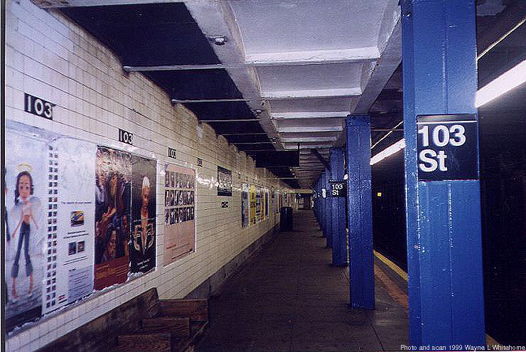 (83k, 740x495)<br><b>Country:</b> United States<br><b>City:</b> New York<br><b>System:</b> New York City Transit<br><b>Line:</b> IND 8th Avenue Line<br><b>Location:</b> 103rd Street<br><b>Photo by:</b> Wayne Whitehorne<br><b>Date:</b> 10/3/1999<br><b>Viewed (this week/total):</b> 1 / 5012