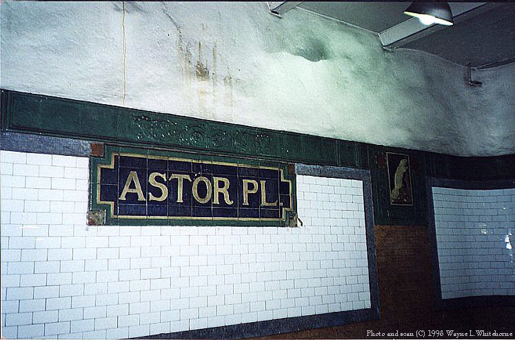 (86k, 747x493)<br><b>Country:</b> United States<br><b>City:</b> New York<br><b>System:</b> New York City Transit<br><b>Line:</b> IRT East Side Line<br><b>Location:</b> Astor Place <br><b>Photo by:</b> Wayne Whitehorne<br><b>Date:</b> 11/28/1997<br><b>Notes:</b> Faience name tablet, Heins & LaFarge/Grueby Faience Company, 1904. Original design element, Contract 1 IRT.<br><b>Viewed (this week/total):</b> 5 / 2828