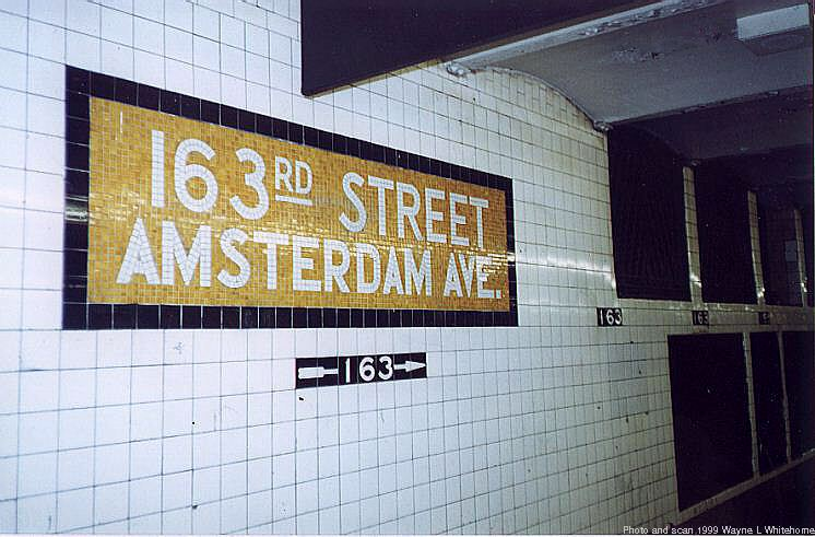 (74k, 746x491)<br><b>Country:</b> United States<br><b>City:</b> New York<br><b>System:</b> New York City Transit<br><b>Line:</b> IND 8th Avenue Line<br><b>Location:</b> 163rd Street/Amsterdam Avenue <br><b>Route:</b> C<br><b>Photo by:</b> Wayne Whitehorne<br><b>Date:</b> 9/24/1999<br><b>Viewed (this week/total):</b> 0 / 3417