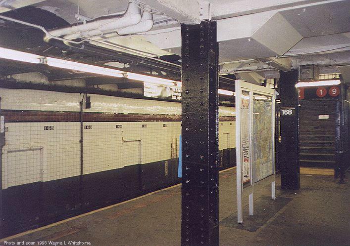 (80k, 707x498)<br><b>Country:</b> United States<br><b>City:</b> New York<br><b>System:</b> New York City Transit<br><b>Line:</b> IND 8th Avenue Line<br><b>Location:</b> 168th Street <br><b>Photo by:</b> Wayne Whitehorne<br><b>Date:</b> 6/20/1998<br><b>Viewed (this week/total):</b> 1 / 3829