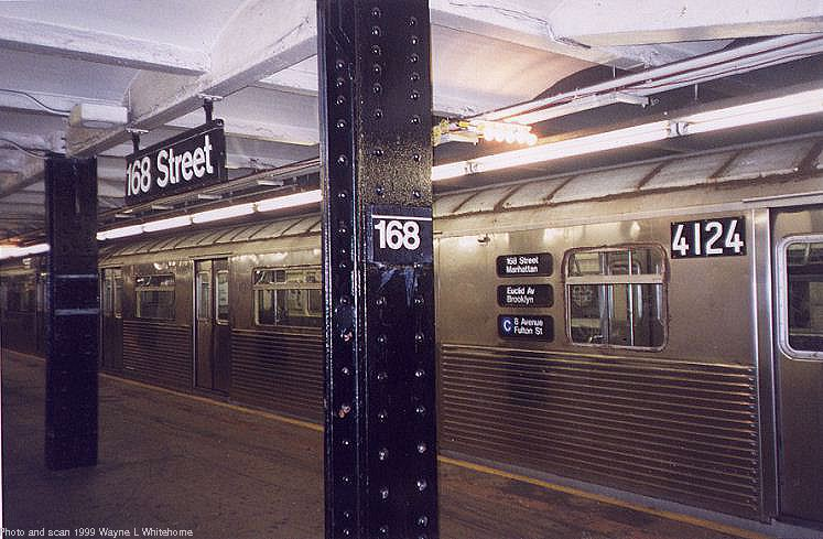 (79k, 747x489)<br><b>Country:</b> United States<br><b>City:</b> New York<br><b>System:</b> New York City Transit<br><b>Line:</b> IND 8th Avenue Line<br><b>Location:</b> 168th Street <br><b>Route:</b> C<br><b>Car:</b> R-38 (St. Louis, 1966-1967)  4124 <br><b>Photo by:</b> Wayne Whitehorne<br><b>Date:</b> 8/14/1999<br><b>Viewed (this week/total):</b> 3 / 6774