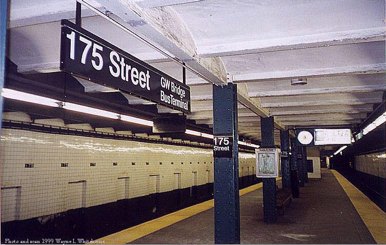 (78k, 753x479)<br><b>Country:</b> United States<br><b>City:</b> New York<br><b>System:</b> New York City Transit<br><b>Line:</b> IND 8th Avenue Line<br><b>Location:</b> 175th Street/George Washington Bridge Bus Terminal <br><b>Photo by:</b> Wayne Whitehorne<br><b>Date:</b> 1998<br><b>Viewed (this week/total):</b> 6 / 6166
