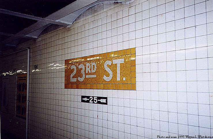 (71k, 739x484)<br><b>Country:</b> United States<br><b>City:</b> New York<br><b>System:</b> New York City Transit<br><b>Line:</b> IND 8th Avenue Line<br><b>Location:</b> 23rd Street <br><b>Photo by:</b> Wayne Whitehorne<br><b>Date:</b> 1/16/1999<br><b>Viewed (this week/total):</b> 0 / 3008