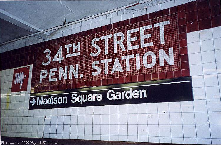 (91k, 751x493)<br><b>Country:</b> United States<br><b>City:</b> New York<br><b>System:</b> New York City Transit<br><b>Line:</b> IND 8th Avenue Line<br><b>Location:</b> 34th Street/Penn Station <br><b>Photo by:</b> Wayne Whitehorne<br><b>Date:</b> 8/14/1999<br><b>Notes:</b> Local platform<br><b>Viewed (this week/total):</b> 1 / 4398