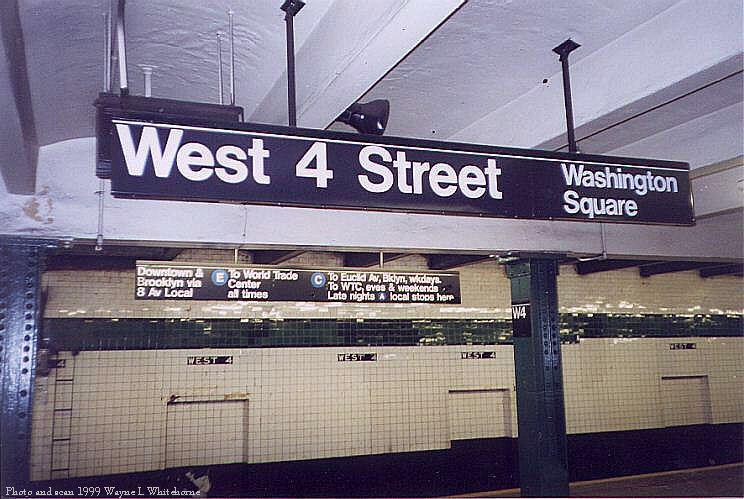 (80k, 744x499)<br><b>Country:</b> United States<br><b>City:</b> New York<br><b>System:</b> New York City Transit<br><b>Line:</b> IND 8th Avenue Line<br><b>Location:</b> West 4th Street/Washington Square <br><b>Photo by:</b> Wayne Whitehorne<br><b>Date:</b> 2/11/1999<br><b>Notes:</b> Upper level<br><b>Viewed (this week/total):</b> 4 / 3850