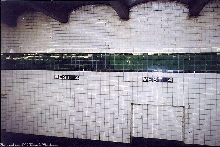 (79k, 744x499)<br><b>Country:</b> United States<br><b>City:</b> New York<br><b>System:</b> New York City Transit<br><b>Line:</b> IND 8th Avenue Line<br><b>Location:</b> West 4th Street/Washington Square <br><b>Photo by:</b> Wayne Whitehorne<br><b>Date:</b> 2/11/1999<br><b>Notes:</b> Upper level - wall tile with patch<br><b>Viewed (this week/total):</b> 0 / 2575