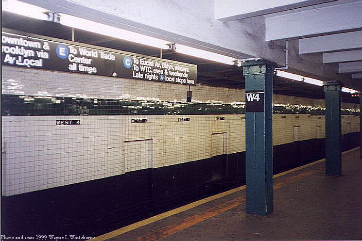 (75k, 745x497)<br><b>Country:</b> United States<br><b>City:</b> New York<br><b>System:</b> New York City Transit<br><b>Line:</b> IND 8th Avenue Line<br><b>Location:</b> West 4th Street/Washington Square<br><b>Photo by:</b> Wayne Whitehorne<br><b>Date:</b> 2/11/1999<br><b>Notes:</b> Upper level<br><b>Viewed (this week/total):</b> 3 / 4248