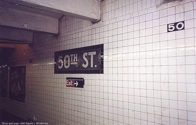 (66k, 749x478)<br><b>Country:</b> United States<br><b>City:</b> New York<br><b>System:</b> New York City Transit<br><b>Line:</b> IND Queens Boulevard Line<br><b>Location:</b> 50th Street <br><b>Photo by:</b> Wayne Whitehorne<br><b>Date:</b> 5/28/1998<br><b>Notes:</b> Wall name tablet<br><b>Viewed (this week/total):</b> 2 / 3315
