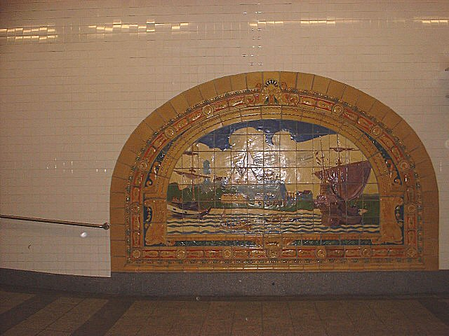 (76k, 640x480)<br><b>Country:</b> United States<br><b>City:</b> New York<br><b>System:</b> New York City Transit<br><b>Line:</b> IND 8th Avenue Line<br><b>Location:</b> Fulton Street (Broadway/Nassau) <br><b>Photo by:</b> Peggy Darlington<br><b>Date:</b> 11/2000<br><b>Artwork:</b> <i>Marine Grill Murals, 1913</i>, Fred Dana Marsh (2000).<br><b>Viewed (this week/total):</b> 9 / 4534