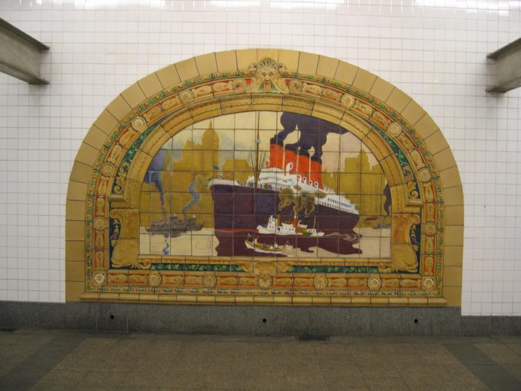 (64k, 750x562)<br><b>Country:</b> United States<br><b>City:</b> New York<br><b>System:</b> New York City Transit<br><b>Line:</b> IND 8th Avenue Line<br><b>Location:</b> Fulton Street (Broadway/Nassau) <br><b>Photo by:</b> Robbie Rosenfeld<br><b>Date:</b> 1/27/2005<br><b>Artwork:</b> <i>Marine Grill Murals, 1913</i>, Fred Dana Marsh (2000).<br><b>Viewed (this week/total):</b> 9 / 4533