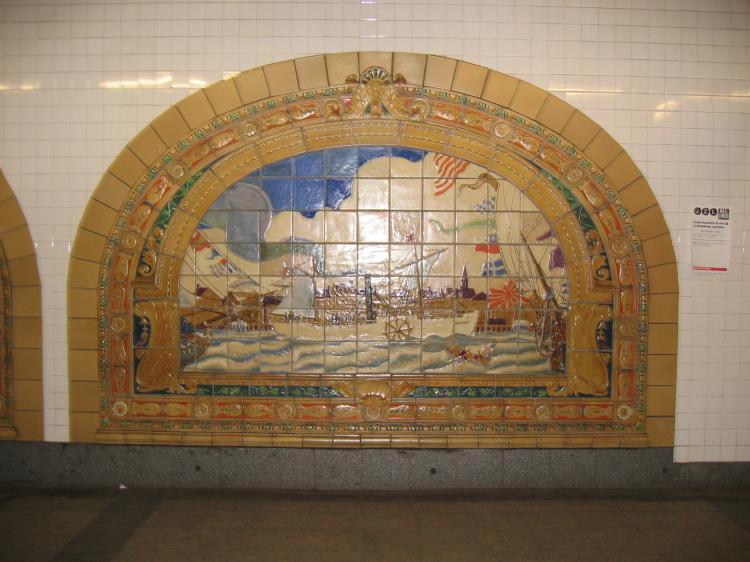 (68k, 750x562)<br><b>Country:</b> United States<br><b>City:</b> New York<br><b>System:</b> New York City Transit<br><b>Line:</b> IND 8th Avenue Line<br><b>Location:</b> Fulton Street (Broadway/Nassau) <br><b>Photo by:</b> Robbie Rosenfeld<br><b>Date:</b> 1/27/2005<br><b>Artwork:</b> <i>Marine Grill Murals, 1913</i>, Fred Dana Marsh (2000).<br><b>Viewed (this week/total):</b> 4 / 4009