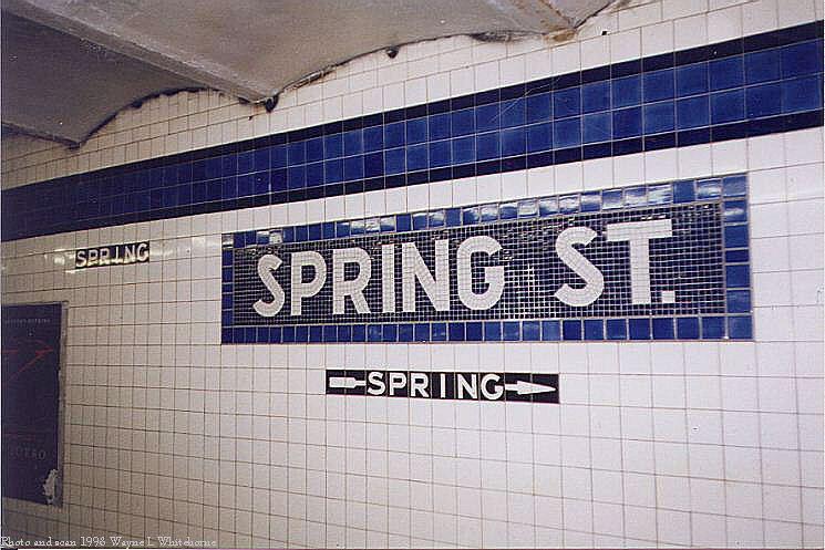 (81k, 745x497)<br><b>Country:</b> United States<br><b>City:</b> New York<br><b>System:</b> New York City Transit<br><b>Line:</b> IND 8th Avenue Line<br><b>Location:</b> Spring Street <br><b>Photo by:</b> Wayne Whitehorne<br><b>Date:</b> 1/16/1999<br><b>Viewed (this week/total):</b> 5 / 3530