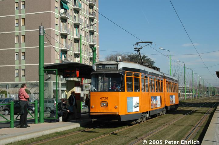 (161k, 720x478)<br><b>Country:</b> Italy<br><b>City:</b> Milan<br><b>System:</b> Azienda Trasporti Milanesi (ATM)<br><b>Location:</b> Cascina California <br><b>Route:</b> 5<br><b>Car:</b> Milan 6-Axle Articulated (Stanga/Breda, 1955-1960)  4726 <br><b>Photo by:</b> Peter Ehrlich<br><b>Date:</b> 3/19/2005<br><b>Viewed (this week/total):</b> 0 / 872