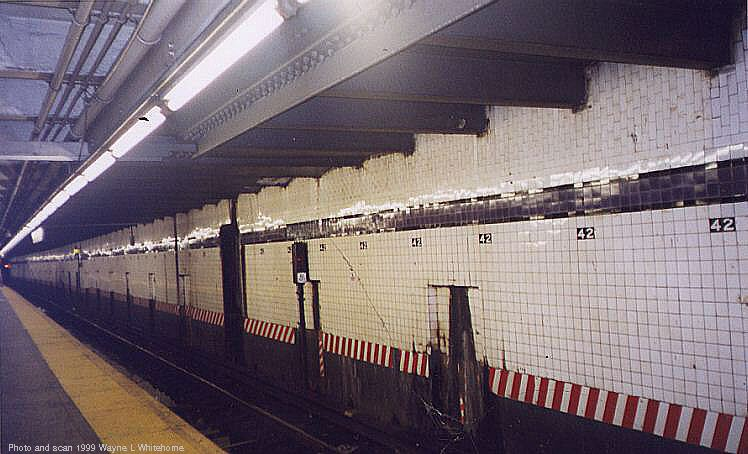 (69k, 748x454)<br><b>Country:</b> United States<br><b>City:</b> New York<br><b>System:</b> New York City Transit<br><b>Line:</b> IND 8th Avenue Line<br><b>Location:</b> 42nd Street/Port Authority Bus Terminal <br><b>Photo by:</b> Wayne Whitehorne<br><b>Date:</b> 8/14/1999<br><b>Notes:</b> Local platform<br><b>Viewed (this week/total):</b> 1 / 5504