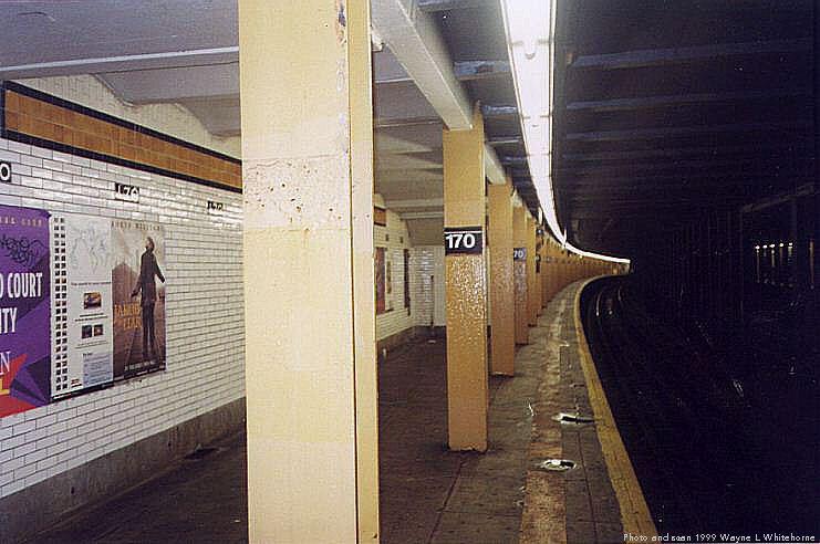 (65k, 741x492)<br><b>Country:</b> United States<br><b>City:</b> New York<br><b>System:</b> New York City Transit<br><b>Line:</b> IND Concourse Line<br><b>Location:</b> 170th Street <br><b>Photo by:</b> Wayne Whitehorne<br><b>Date:</b> 9/24/1999<br><b>Viewed (this week/total):</b> 0 / 4375