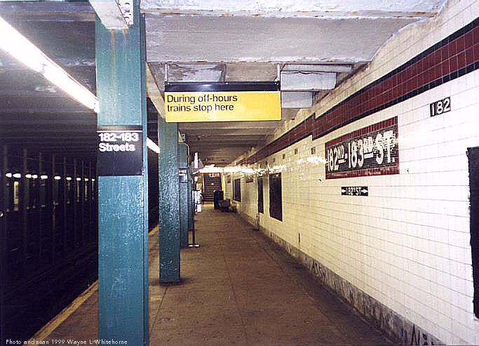 (70k, 683x493)<br><b>Country:</b> United States<br><b>City:</b> New York<br><b>System:</b> New York City Transit<br><b>Line:</b> IND Concourse Line<br><b>Location:</b> 182nd/183rd Street <br><b>Photo by:</b> Wayne Whitehorne<br><b>Date:</b> 9/24/1999<br><b>Viewed (this week/total):</b> 1 / 4822