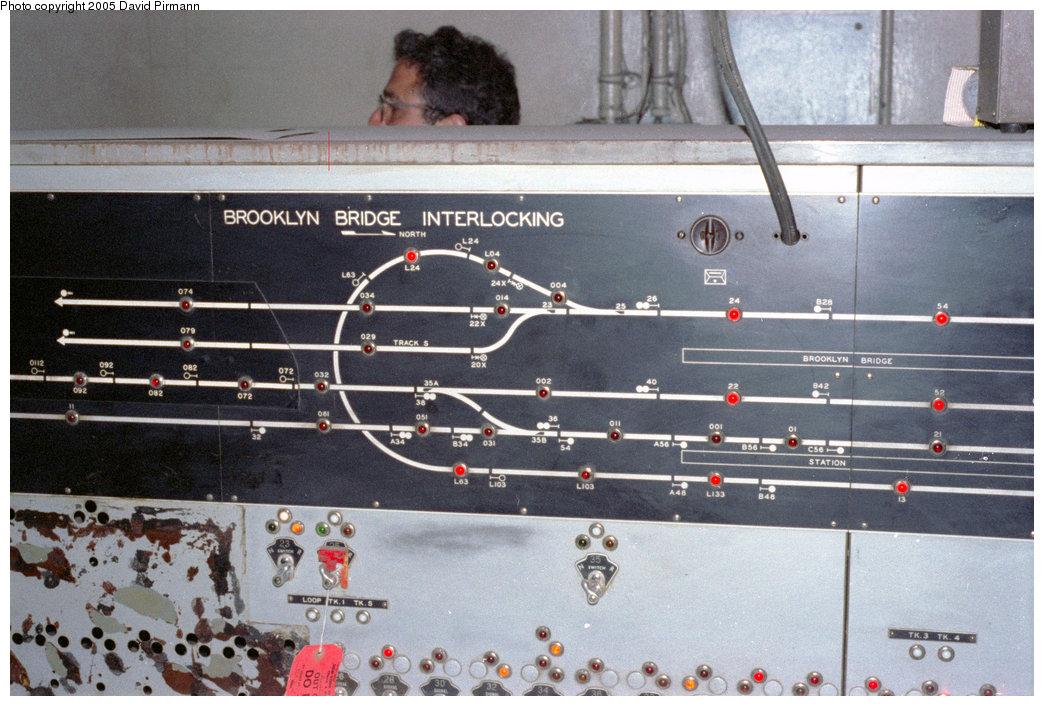 (209k, 1044x706)<br><b>Country:</b> United States<br><b>City:</b> New York<br><b>System:</b> New York City Transit<br><b>Line:</b> IRT East Side Line<br><b>Location:</b> Brooklyn Bridge/City Hall (Closed Side Platform) <br><b>Photo by:</b> David Pirmann<br><b>Date:</b> 9/24/1995<br><b>Notes:</b> Brooklyn Bridge backup interlocking tower showing City Hall loop<br><b>Viewed (this week/total):</b> 0 / 19195
