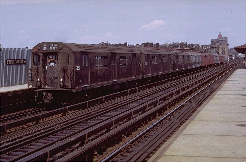 (226k, 1024x677)<br><b>Country:</b> United States<br><b>City:</b> New York<br><b>System:</b> New York City Transit<br><b>Line:</b> IRT White Plains Road Line<br><b>Location:</b> Intervale Avenue <br><b>Route:</b> 5<br><b>Car:</b> R-21 (St. Louis, 1956-57) 7129 <br><b>Photo by:</b> Doug Grotjahn<br><b>Collection of:</b> Joe Testagrose<br><b>Date:</b> 8/7/1971<br><b>Viewed (this week/total):</b> 3 / 3183
