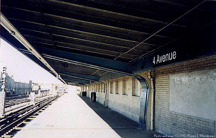 (96k, 748x481)<br><b>Country:</b> United States<br><b>City:</b> New York<br><b>System:</b> New York City Transit<br><b>Line:</b> IND Crosstown Line<br><b>Location:</b> 4th Avenue <br><b>Photo by:</b> Wayne Whitehorne<br><b>Date:</b> 12/26/1997<br><b>Notes:</b> Norman brick wall<br><b>Viewed (this week/total):</b> 0 / 2886