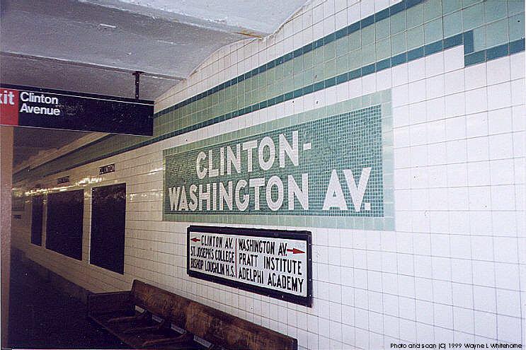 (92k, 743x495)<br><b>Country:</b> United States<br><b>City:</b> New York<br><b>System:</b> New York City Transit<br><b>Line:</b> IND Crosstown Line<br><b>Location:</b> Clinton/Washington Aves. <br><b>Photo by:</b> Wayne Whitehorne<br><b>Date:</b> 1/28/1999<br><b>Notes:</b> Wall tile/old sign<br><b>Viewed (this week/total):</b> 6 / 5413