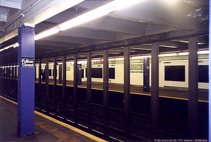 (88k, 742x499)<br><b>Country:</b> United States<br><b>City:</b> New York<br><b>System:</b> New York City Transit<br><b>Line:</b> IND Crosstown Line<br><b>Location:</b> Fulton Street <br><b>Photo by:</b> Wayne Whitehorne<br><b>Date:</b> 1/28/1999<br><b>Viewed (this week/total):</b> 3 / 4370