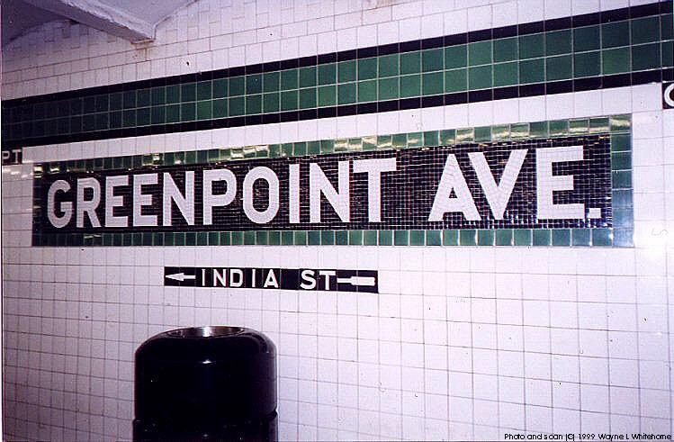 (90k, 749x491)<br><b>Country:</b> United States<br><b>City:</b> New York<br><b>System:</b> New York City Transit<br><b>Line:</b> IND Crosstown Line<br><b>Location:</b> Greenpoint Avenue <br><b>Photo by:</b> Wayne Whitehorne<br><b>Date:</b> 1/28/1999<br><b>Viewed (this week/total):</b> 1 / 3662