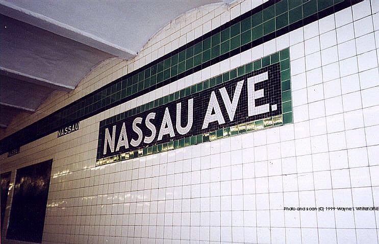 (89k, 743x478)<br><b>Country:</b> United States<br><b>City:</b> New York<br><b>System:</b> New York City Transit<br><b>Line:</b> IND Crosstown Line<br><b>Location:</b> Nassau Avenue <br><b>Photo by:</b> Wayne Whitehorne<br><b>Date:</b> 1/28/1999<br><b>Viewed (this week/total):</b> 0 / 3420