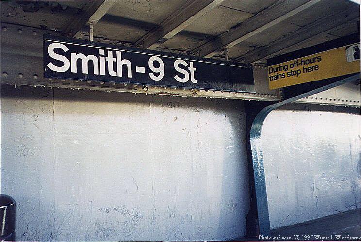 (85k, 744x499)<br><b>Country:</b> United States<br><b>City:</b> New York<br><b>System:</b> New York City Transit<br><b>Line:</b> IND Crosstown Line<br><b>Location:</b> Smith/9th Street <br><b>Photo by:</b> Wayne Whitehorne<br><b>Date:</b> 12/26/1997<br><b>Notes:</b> Smith-9th Street station<br><b>Viewed (this week/total):</b> 0 / 2101
