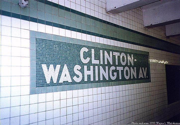 (96k, 723x502)<br><b>Country:</b> United States<br><b>City:</b> New York<br><b>System:</b> New York City Transit<br><b>Line:</b> IND Fulton Street Line<br><b>Location:</b> Clinton/Washington Aves. <br><b>Photo by:</b> Wayne Whitehorne<br><b>Date:</b> 5/29/1999<br><b>Notes:</b> Name tablet<br><b>Viewed (this week/total):</b> 2 / 3589