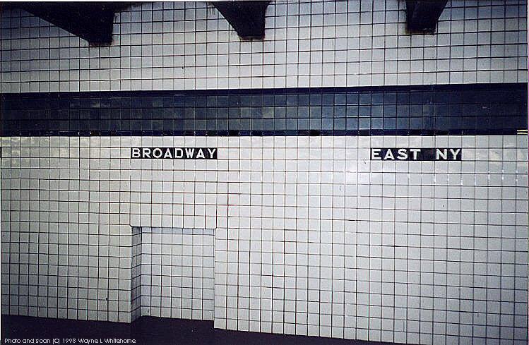 (106k, 749x489)<br><b>Country:</b> United States<br><b>City:</b> New York<br><b>System:</b> New York City Transit<br><b>Line:</b> IND Fulton Street Line<br><b>Location:</b> Broadway/East New York (Broadway Junction) <br><b>Photo by:</b> Wayne Whitehorne<br><b>Date:</b> 4/18/1998<br><b>Notes:</b> Wall tile<br><b>Viewed (this week/total):</b> 4 / 3776
