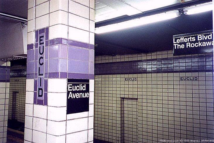 (110k, 731x490)<br><b>Country:</b> United States<br><b>City:</b> New York<br><b>System:</b> New York City Transit<br><b>Line:</b> IND Fulton Street Line<br><b>Location:</b> Euclid Avenue <br><b>Photo by:</b> Wayne Whitehorne<br><b>Date:</b> 1/28/1999<br><b>Notes:</b> Wall tile and pillar<br><b>Viewed (this week/total):</b> 0 / 2944