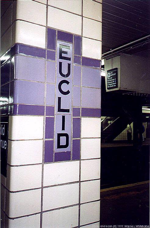 (76k, 492x748)<br><b>Country:</b> United States<br><b>City:</b> New York<br><b>System:</b> New York City Transit<br><b>Line:</b> IND Fulton Street Line<br><b>Location:</b> Euclid Avenue <br><b>Photo by:</b> Wayne Whitehorne<br><b>Date:</b> 1/28/1999<br><b>Notes:</b> Tiled pillar detail<br><b>Viewed (this week/total):</b> 0 / 2559