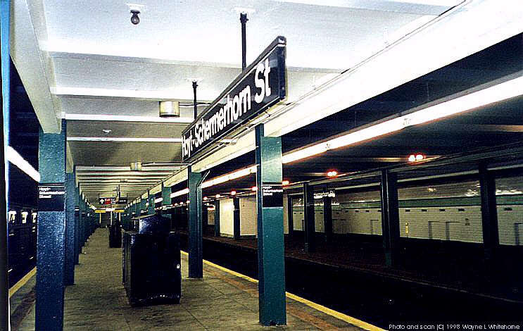 (93k, 743x470)<br><b>Country:</b> United States<br><b>City:</b> New York<br><b>System:</b> New York City Transit<br><b>Line:</b> IND Fulton Street Line<br><b>Location:</b> Hoyt-Schermerhorn Street <br><b>Photo by:</b> Wayne Whitehorne<br><b>Date:</b> 4/28/1998<br><b>Viewed (this week/total):</b> 0 / 5476