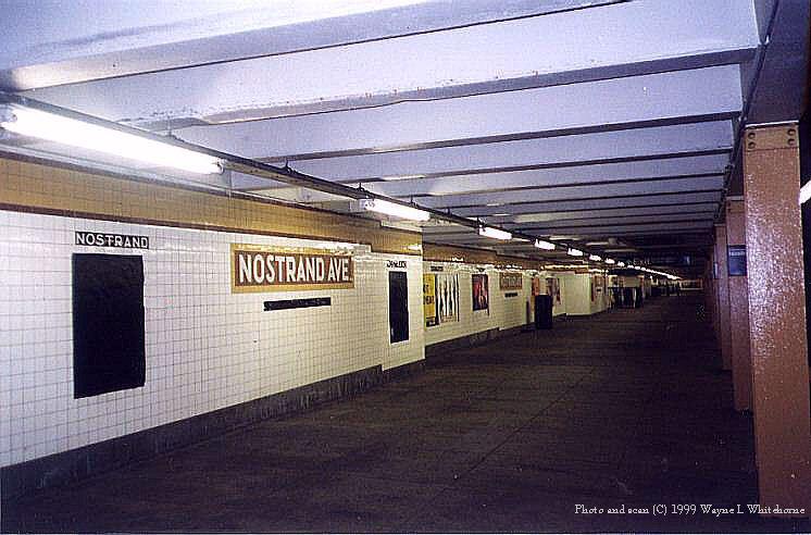 (69k, 746x492)<br><b>Country:</b> United States<br><b>City:</b> New York<br><b>System:</b> New York City Transit<br><b>Line:</b> IND Fulton Street Line<br><b>Location:</b> Nostrand Avenue <br><b>Photo by:</b> Wayne Whitehorne<br><b>Date:</b> 5/15/1999<br><b>Notes:</b> Upper level<br><b>Viewed (this week/total):</b> 2 / 3724