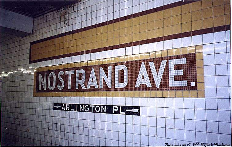 (87k, 755x479)<br><b>Country:</b> United States<br><b>City:</b> New York<br><b>System:</b> New York City Transit<br><b>Line:</b> IND Fulton Street Line<br><b>Location:</b> Nostrand Avenue <br><b>Photo by:</b> Wayne Whitehorne<br><b>Date:</b> 5/15/1999<br><b>Notes:</b> Tile band and tablet (lower level)<br><b>Viewed (this week/total):</b> 1 / 3149