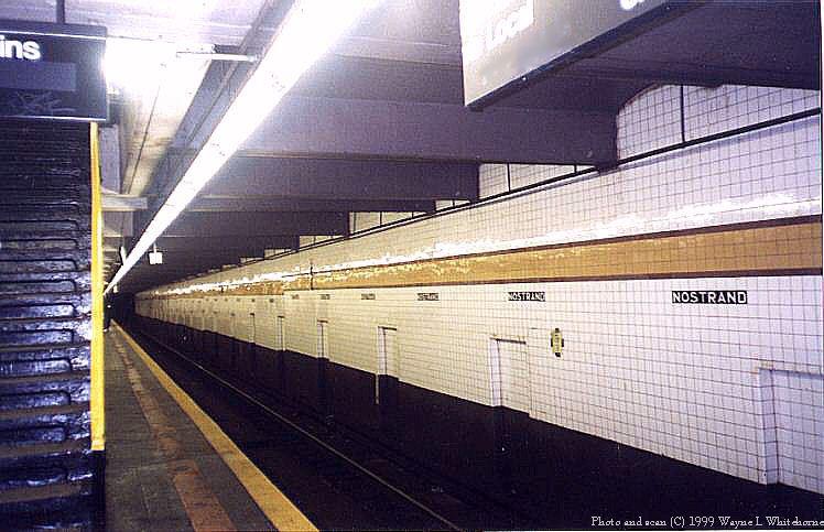 (74k, 748x483)<br><b>Country:</b> United States<br><b>City:</b> New York<br><b>System:</b> New York City Transit<br><b>Line:</b> IND Fulton Street Line<br><b>Location:</b> Nostrand Avenue <br><b>Photo by:</b> Wayne Whitehorne<br><b>Date:</b> 5/15/1999<br><b>Notes:</b> Lower level<br><b>Viewed (this week/total):</b> 0 / 3397
