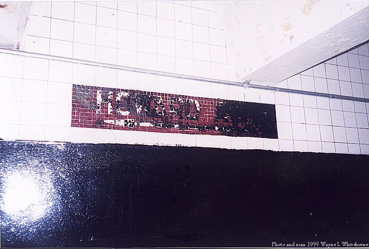 (76k, 745x502)<br><b>Country:</b> United States<br><b>City:</b> New York<br><b>System:</b> New York City Transit<br><b>Line:</b> IND Fulton Street Line<br><b>Location:</b> Ralph Avenue <br><b>Photo by:</b> Wayne Whitehorne<br><b>Date:</b> 5/29/1999<br><b>Notes:</b> Defaced exit sign<br><b>Viewed (this week/total):</b> 8 / 3710