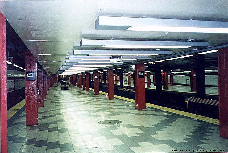 (93k, 739x497)<br><b>Country:</b> United States<br><b>City:</b> New York<br><b>System:</b> New York City Transit<br><b>Line:</b> IND Fulton Street Line<br><b>Location:</b> Utica Avenue <br><b>Photo by:</b> Wayne Whitehorne<br><b>Date:</b> 4/28/1998<br><b>Notes:</b> Under the unfinished IND system 2 trackways<br><b>Viewed (this week/total):</b> 3 / 4016