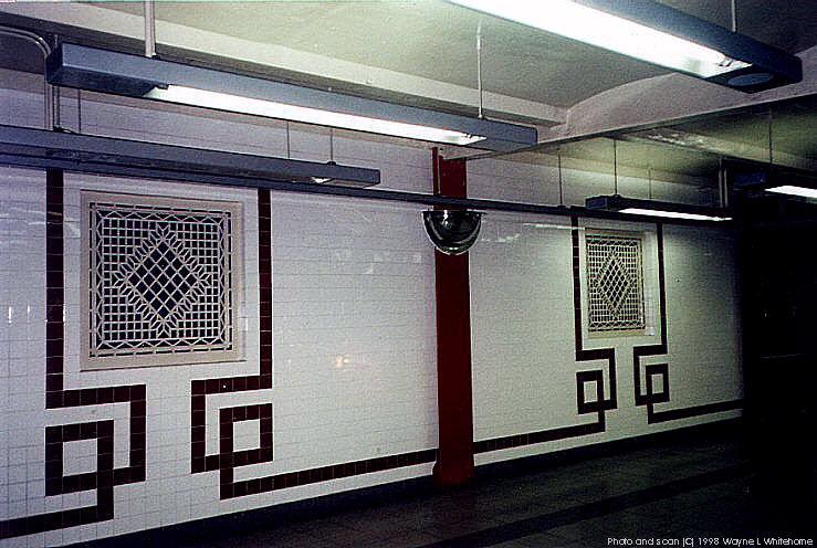 (91k, 739x496)<br><b>Country:</b> United States<br><b>City:</b> New York<br><b>System:</b> New York City Transit<br><b>Line:</b> IND Fulton Street Line<br><b>Location:</b> Utica Avenue <br><b>Photo by:</b> Wayne Whitehorne<br><b>Date:</b> 5/28/1998<br><b>Notes:</b> New tile in crossover<br><b>Viewed (this week/total):</b> 0 / 2424