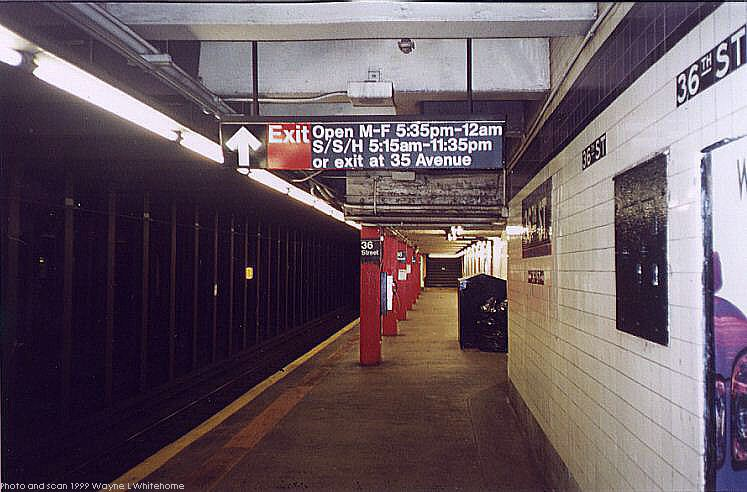 (71k, 747x492)<br><b>Country:</b> United States<br><b>City:</b> New York<br><b>System:</b> New York City Transit<br><b>Line:</b> IND Queens Boulevard Line<br><b>Location:</b> 36th Street <br><b>Photo by:</b> Wayne Whitehorne<br><b>Date:</b> 12/11/1999<br><b>Viewed (this week/total):</b> 0 / 4801