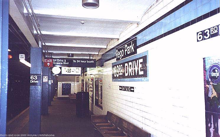 (64k, 745x466)<br><b>Country:</b> United States<br><b>City:</b> New York<br><b>System:</b> New York City Transit<br><b>Line:</b> IND Queens Boulevard Line<br><b>Location:</b> 63rd Drive/Rego Park <br><b>Photo by:</b> Wayne Whitehorne<br><b>Date:</b> 1/8/2000<br><b>Viewed (this week/total):</b> 1 / 4322