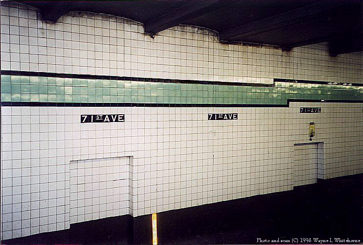 (97k, 742x500)<br><b>Country:</b> United States<br><b>City:</b> New York<br><b>System:</b> New York City Transit<br><b>Line:</b> IND Queens Boulevard Line<br><b>Location:</b> 71st/Continental Aves./Forest Hills <br><b>Photo by:</b> Wayne Whitehorne<br><b>Date:</b> 2/7/1998<br><b>Notes:</b> Wall tile<br><b>Viewed (this week/total):</b> 0 / 2587