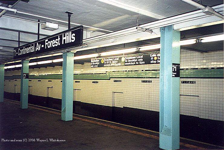 (103k, 741x496)<br><b>Country:</b> United States<br><b>City:</b> New York<br><b>System:</b> New York City Transit<br><b>Line:</b> IND Queens Boulevard Line<br><b>Location:</b> 71st/Continental Aves./Forest Hills <br><b>Photo by:</b> Wayne Whitehorne<br><b>Date:</b> 2/7/1998<br><b>Viewed (this week/total):</b> 7 / 3549