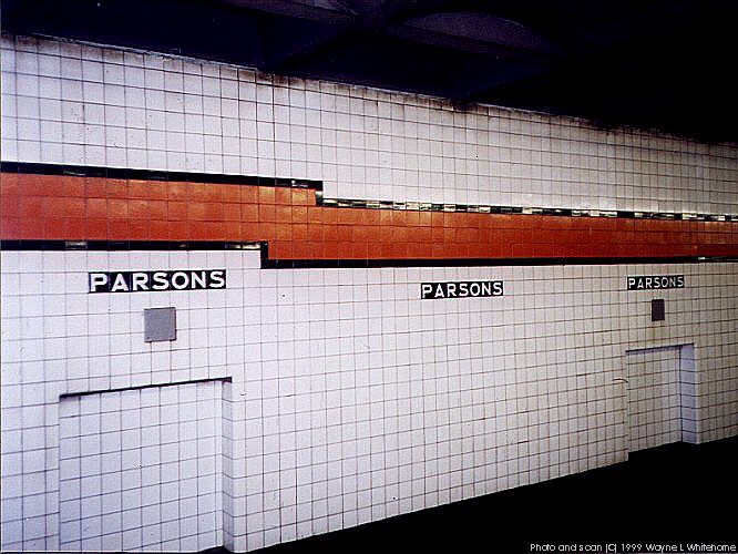 (80k, 666x500)<br><b>Country:</b> United States<br><b>City:</b> New York<br><b>System:</b> New York City Transit<br><b>Line:</b> IND Queens Boulevard Line<br><b>Location:</b> Parsons Boulevard <br><b>Photo by:</b> Wayne Whitehorne<br><b>Date:</b> 1/9/1999<br><b>Notes:</b> Wall tile<br><b>Viewed (this week/total):</b> 2 / 3303