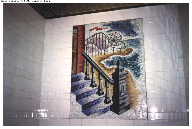 (48k, 630x424)<br><b>Country:</b> United States<br><b>City:</b> New York<br><b>System:</b> New York City Transit<br><b>Line:</b> BMT 4th Avenue<br><b>Location:</b> 36th Street <br><b>Photo by:</b> Stephen Ives<br><b>Date:</b> 11/6/1999<br><b>Artwork:</b> <i>An Underground Movement: Designers, Builders, Riders</i>, Owen Smith (1998).<br><b>Notes:</b> Coney Island mosaic<br><b>Viewed (this week/total):</b> 7 / 5309