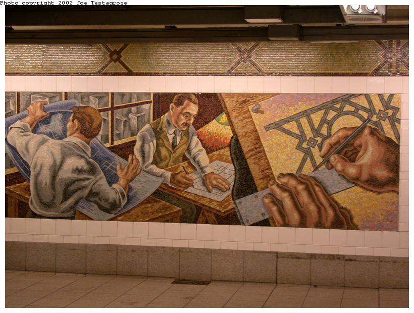 (130k, 820x620)<br><b>Country:</b> United States<br><b>City:</b> New York<br><b>System:</b> New York City Transit<br><b>Line:</b> BMT 4th Avenue<br><b>Location:</b> 36th Street <br><b>Photo by:</b> Joe Testagrose<br><b>Date:</b> 9/22/2002<br><b>Artwork:</b> <i>An Underground Movement: Designers, Builders, Riders</i>, Owen Smith (1998).<br><b>Notes:</b> Designers panel.<br><b>Viewed (this week/total):</b> 10 / 7815
