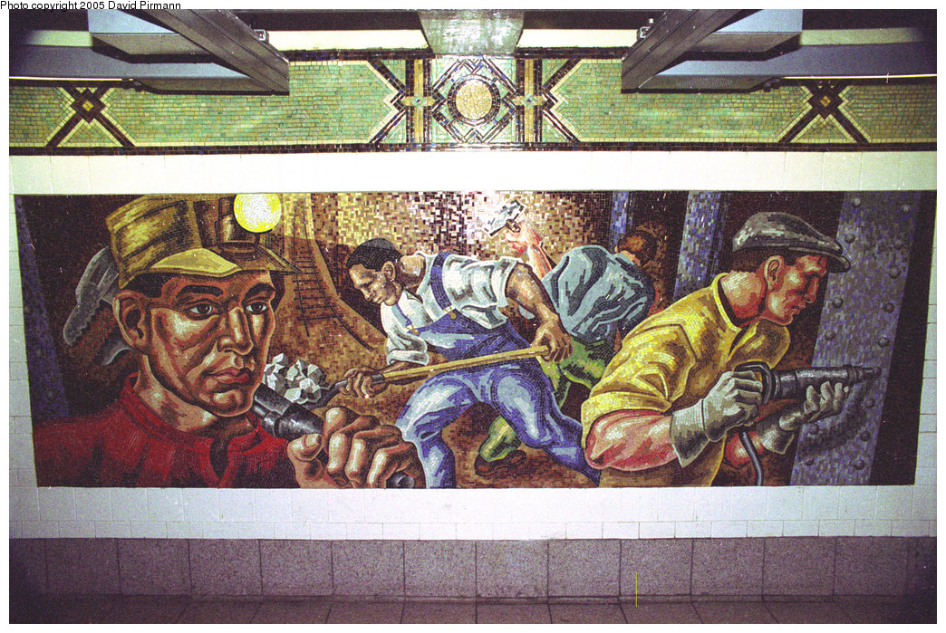 (327k, 1044x699)<br><b>Country:</b> United States<br><b>City:</b> New York<br><b>System:</b> New York City Transit<br><b>Line:</b> BMT 4th Avenue<br><b>Location:</b> 36th Street <br><b>Photo by:</b> David Pirmann<br><b>Date:</b> 7/18/1998<br><b>Artwork:</b> <i>An Underground Movement: Designers, Builders, Riders</i>, Owen Smith (1998).<br><b>Notes:</b> Builders panel.<br><b>Viewed (this week/total):</b> 0 / 4323