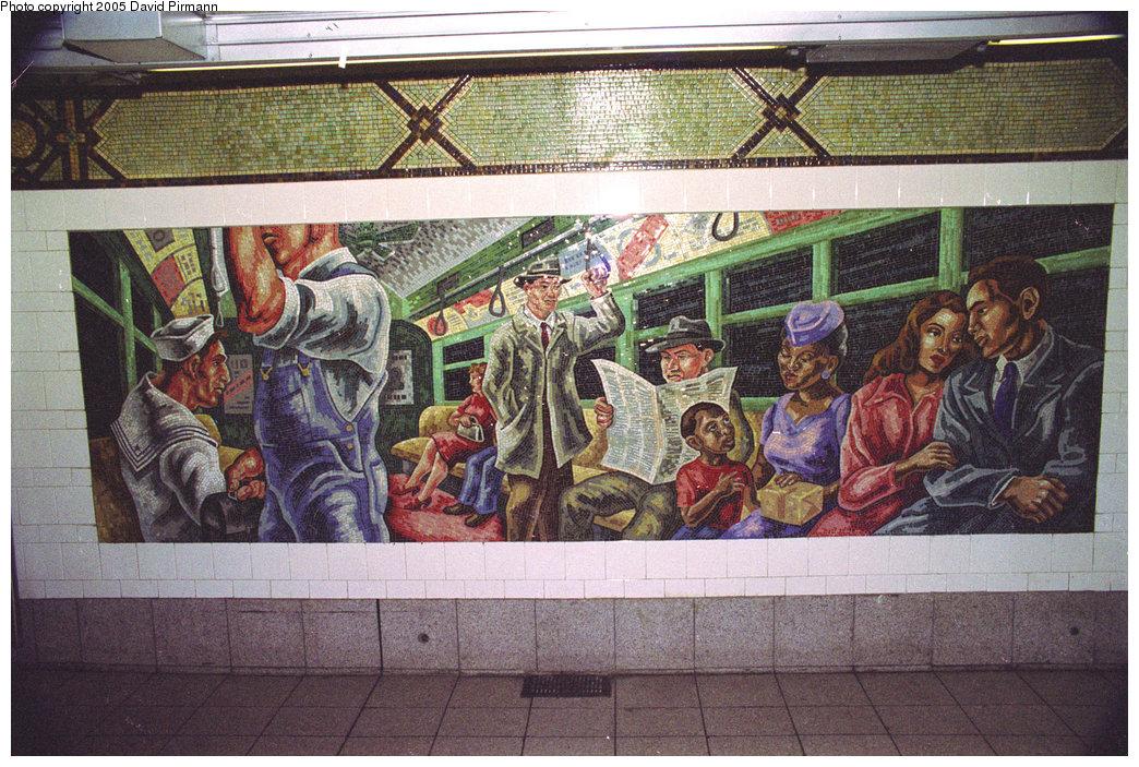 (293k, 1044x703)<br><b>Country:</b> United States<br><b>City:</b> New York<br><b>System:</b> New York City Transit<br><b>Line:</b> BMT 4th Avenue<br><b>Location:</b> 36th Street <br><b>Photo by:</b> David Pirmann<br><b>Date:</b> 7/18/1998<br><b>Artwork:</b> <i>An Underground Movement: Designers, Builders, Riders</i>, Owen Smith (1998).<br><b>Notes:</b> Riders panel.<br><b>Viewed (this week/total):</b> 2 / 4082