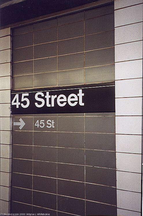 (61k, 495x745)<br><b>Country:</b> United States<br><b>City:</b> New York<br><b>System:</b> New York City Transit<br><b>Line:</b> BMT 4th Avenue<br><b>Location:</b> 45th Street <br><b>Photo by:</b> Wayne Whitehorne<br><b>Date:</b> 1/15/2000<br><b>Notes:</b> 1960s refrigerator tile<br><b>Viewed (this week/total):</b> 3 / 3348